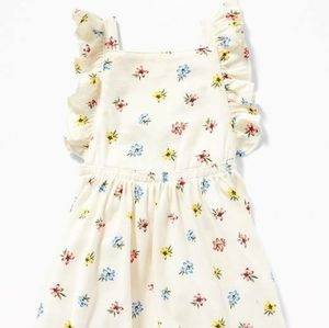 Baby Girl Printed Jersey Apron Dress White Floral
